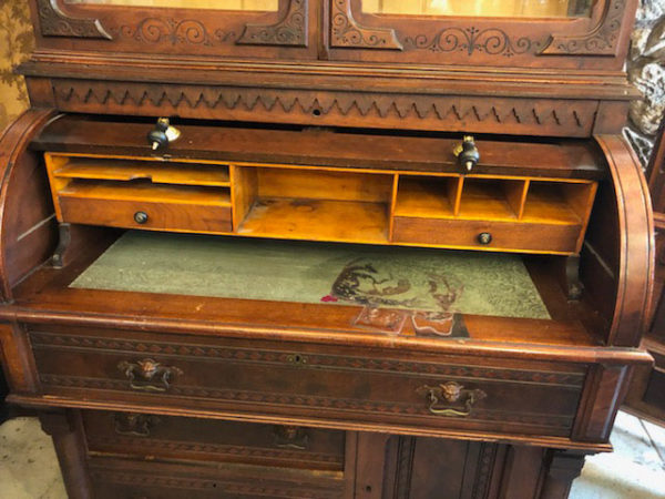 Victorian Desk Bookcase with the desk open