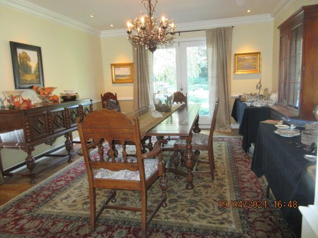 Dining room with long dining table